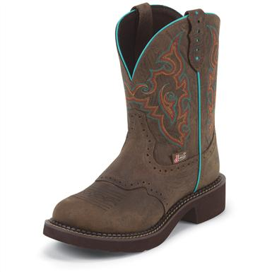 "Women's Justin® 8"" Diamond Cut Pull Strap Boots, Barnwood Brown"