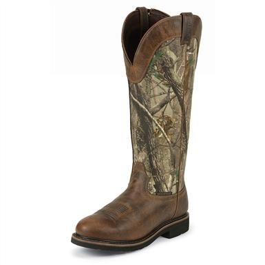 Men's Justin® 17 inch Stampede Waterproof Snake Boots, Realtree All-purpose® Camo
