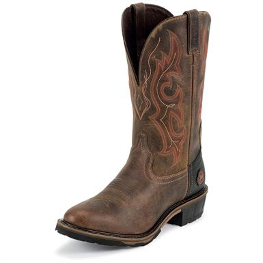 Men's Justin® 11 inch Hybred® Waterproof Pull-on Western Boots, Rugged Tan