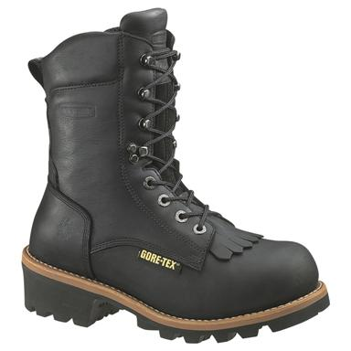 Men's Wolverine® 8 inch Buckeye GORE-TEX® 400-gram Thinsulate™ Ultra Insulation EAA Safety Toe Logger Boots, Black
