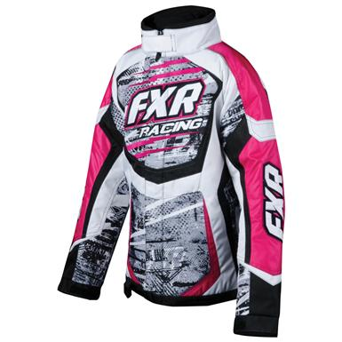 Child or Youth FXR® Cold Cross Jacket, Grey Warp Fuchsia - Front