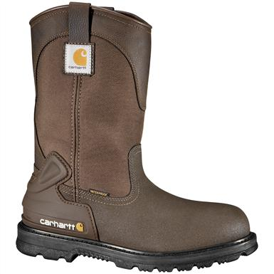 "Men's Carhartt® 11"" Waterproof Steel Toe Mud Wellington Work Boots, Brown"