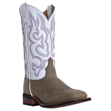 Women's Laredo 11 inch Mesquite Western Boots, White / Brown