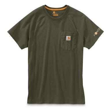 Carhartt Men's Force Cotton Delmont Short Sleeve Shirt, Moss