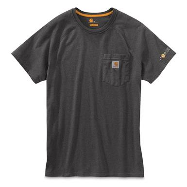 Carhartt Men's Force Cotton Delmont Short Sleeve Shirt, Granite Heather