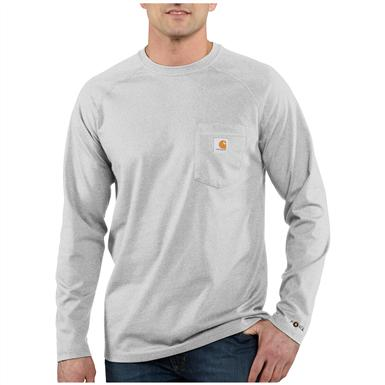 Carhartt Force Cotton Long-sleeved T-shirt, Heather Gray