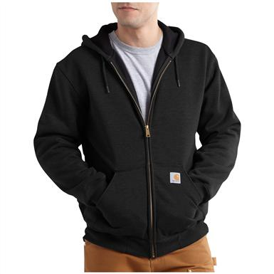 Carhartt Rain Defender Rutland Thermal-lined Hooded Zip-front Sweatshirt, Black
