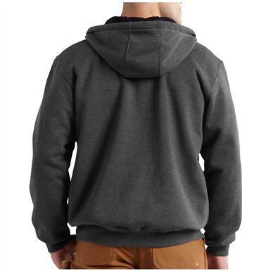 Carhartt Rain Defender Rutland Thermal-lined Hooded Zip-front Sweatshirt, Carbon Heather - Back view