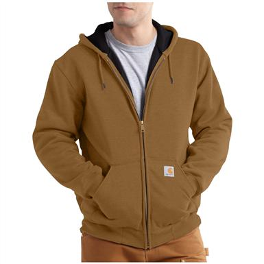 Carhartt Rain Defender Rutland Thermal-lined Hooded Zip-front Sweatshirt, Carhartt Brown
