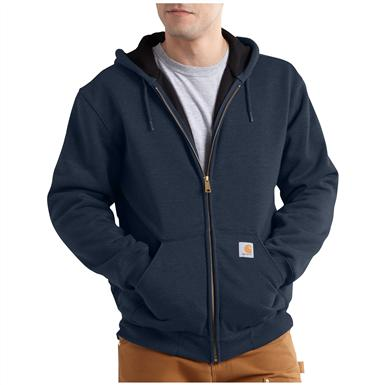 Carhartt Rain Defender Rutland Thermal-lined Hooded Zip-front Sweatshirt, New Navy