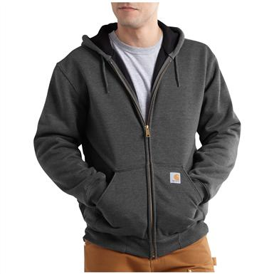 Carhartt Rain Defender Rutland Thermal-lined Hooded Zip-front Sweatshirt, Carbon Heather - Front view