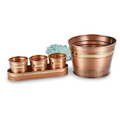 2-Pk. of 3-in-1 Copper Planters; Each planter is finished in gleaming copper