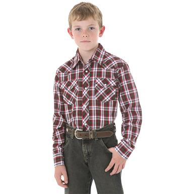 Wrangler Boys Long-sleeved Dress Western Plaid Shirt, Red Plaid