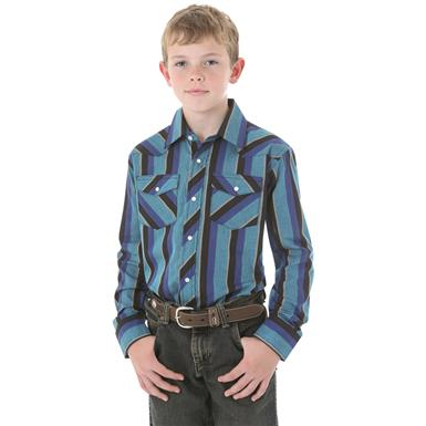 Wrangler Boys Long-sleeved Dress Western Stripe Shirt, Blue Stripe