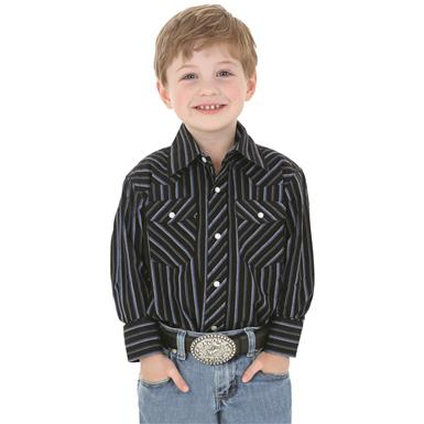 Wrangler Boys Dress Western Stripe Long Sleeve Shirt, Blue Stripe