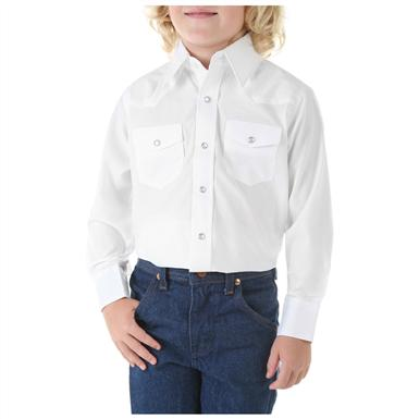 Wrangler® Boys Long-sleeved Dress Western Solid Snap Shirt, White