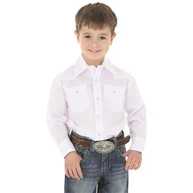 Wrangler Boys Long-sleeved Dress Western Solid Snap Shirt, White