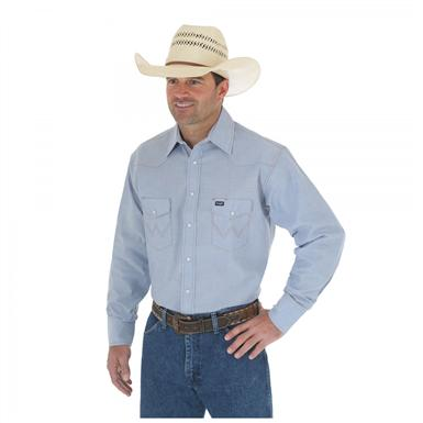 Men's Wrangler® Authentic Cowboy Cut® Work Shirt, Chambray