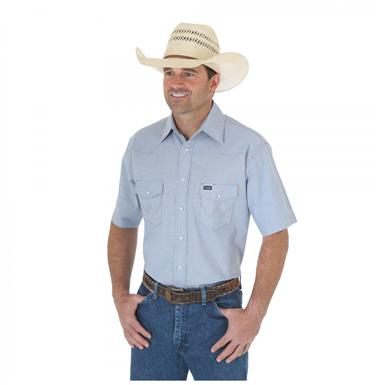 Men's Wrangler® Authentic Cowboy Cut® Short-sleeved Work Shirt, Chambray