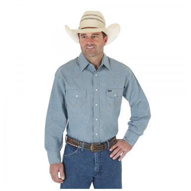 Wrangler® Authentic Cowboy Cut® Long-sleeved Work Shirt, Chambray