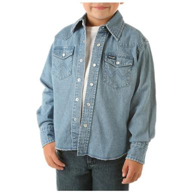 Wrangler® Boys Denim Long-sleeved Solid Snap Shirt, Stonewashed