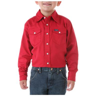 Wrangler® Boys Denim Long-sleeved Solid Snap Shirt, Red