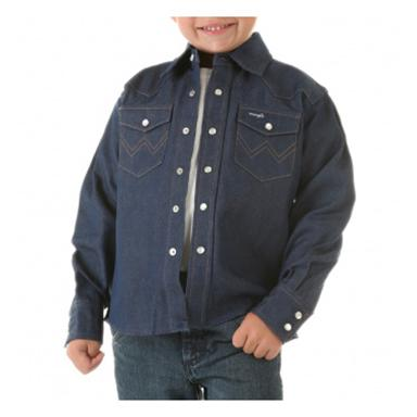 Wrangler® Boys Denim Long-sleeved Solid Snap Shirt, Navy