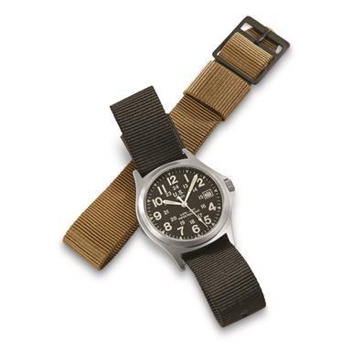 Military-Style Army Stainless Steel Watch with 2 Bands