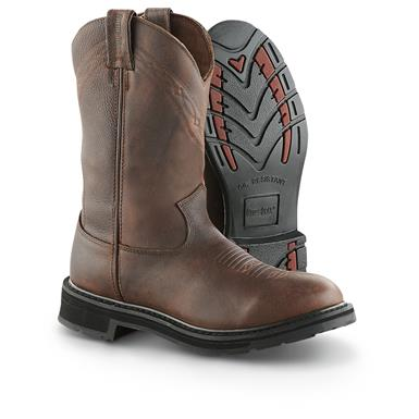 "Guide Gear Mens 12"" Pull-On Leather Waterproof Work Boots, Brown"