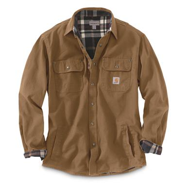 Carhartt Men's Weathered Canvas Shirt Jacket, Frontier Brown, Frontier Brown