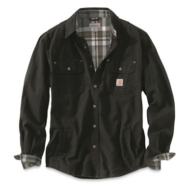 Carhartt Men's Weathered Canvas Shirt Jacket, Black, Black