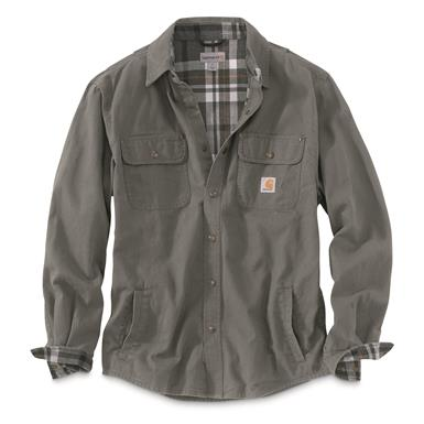 Carhartt Men's Weathered Canvas Shirt Jacket, Gravel, Gravel