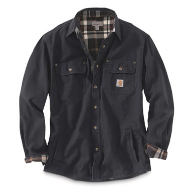 Carhartt Men's Weathered Canvas Shirt Jacket, Navy, Navy