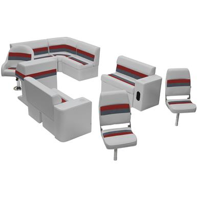 Wise® Deluxe Pontoon Complete Fishing Boat Seating Group, Color E: Light Grey / Charcoal / Red