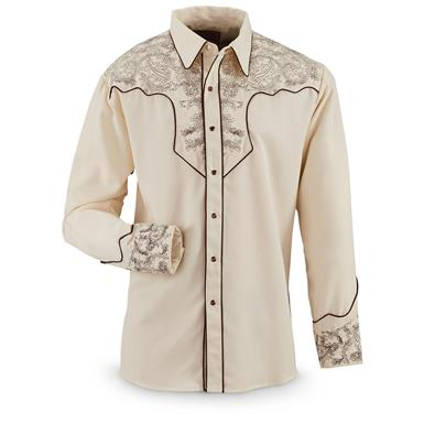 Scully® Paisley Western Shirt, Cream