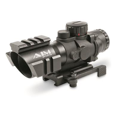 AIM Sports Prismatic Series, 4x32mm, 3/4 Circle Reticle, Rifle Scope
