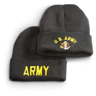 Military Surplus Embroidered Knit Caps, 2 Pack, Army