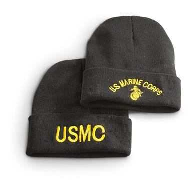 Military Surplus Embroidered Knit Caps, 2 Pack, USMC, Marines