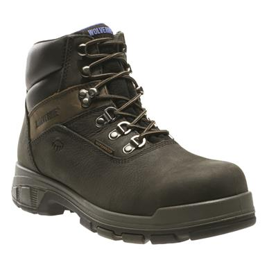 "Wolverine Men's 6"" Cabor EPX Waterproof 6"" Composite Toe Work Boots, Black"