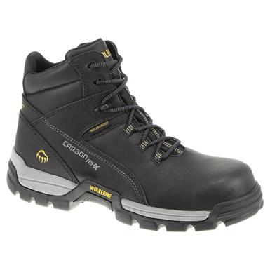 Men's Wolverine® 6 inch Tarmac Waterproof Composite Toe Reflective Work Boots, Black