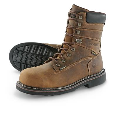 "Wolverine Men's Brek 8"" Steel Toe Waterproof Work Boots, Brown"