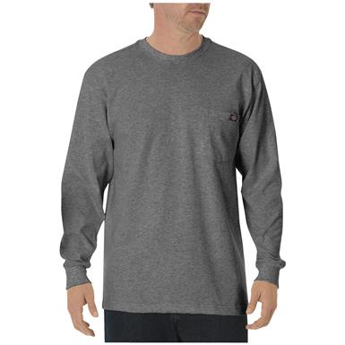Dickies® Long-sleeved Heavyweight Crew Neck T-shirt, Heather Gray