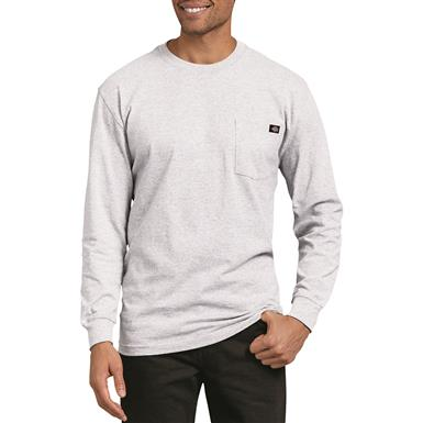 Dickies Men's Long Sleeve Heavyweight Crew Neck Shirt, Ash Gray