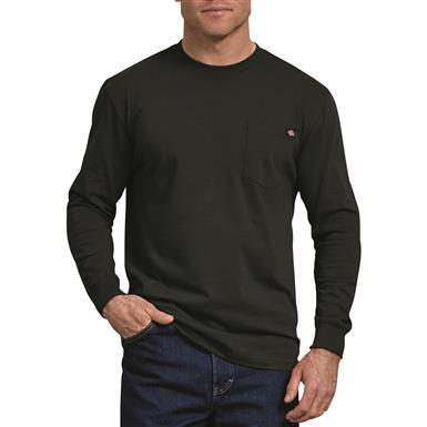 Dickies Men's Long Sleeve Heavyweight Crew Neck Shirt, Black