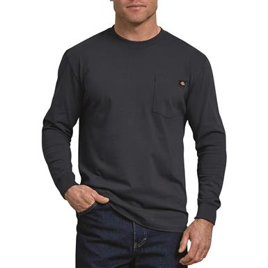 Dickies Men's Long Sleeve Heavyweight Crew Neck Shirt, Dark Navy
