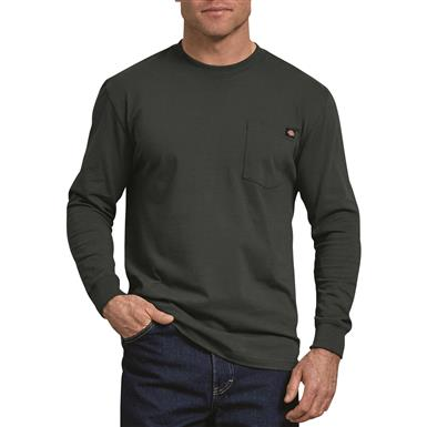 Dickies Men's Long Sleeve Heavyweight Crew Neck Shirt, Hunter Green