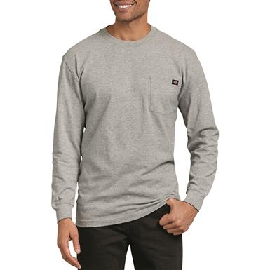 Dickies Men's Long Sleeve Heavyweight Crew Neck Shirt, Heather Gray
