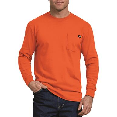 Dickies Men's Long Sleeve Heavyweight Crew Neck Shirt, Orange