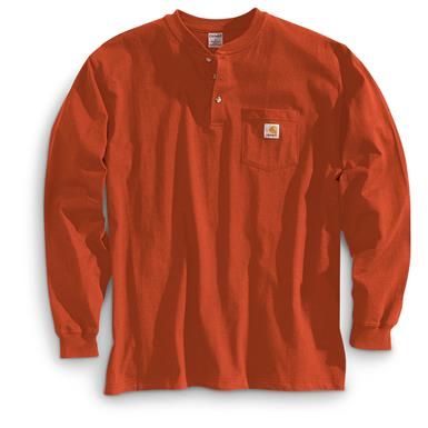 Carhartt Men's Pocket Long-Sleeve Henley Shirt, Chili