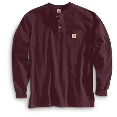 Carhartt Men's Pocket Long-Sleeve Henley Shirt, Port